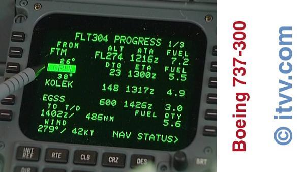 ITVV B737-300 Cockpit FMC Progress Page