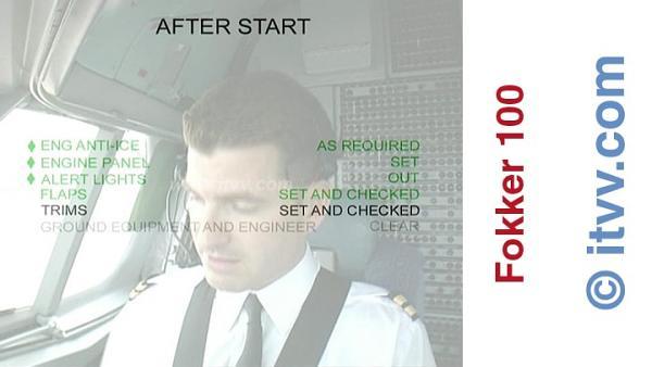 ITVV Fokker 100 After Start Checklist