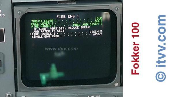 ITVV Fokker 100 Flight Warning System Right Screen Checklist Actions